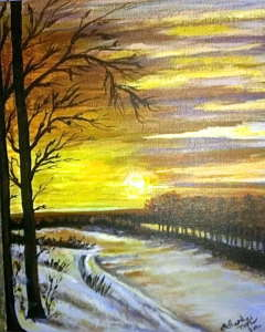 Winter Glow, acrylic, 11x14, $$0.0000